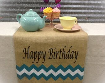 Burlap Table Runner with Happy Birthday & a chevron pattern on the both ends
