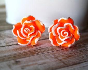 Bright Orange Flower Earrings Post Earrings