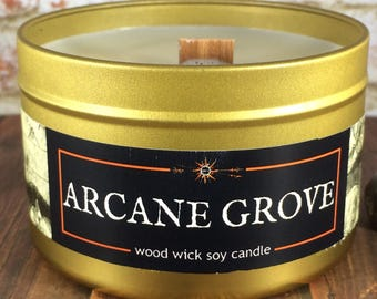 ARCANE GROVE Candle | Wood Wick, Soy | Book-Fantasy-RPG-Geek-Horror Gift | 4 or 8 oz Gold Loot Tin | Pine Candle