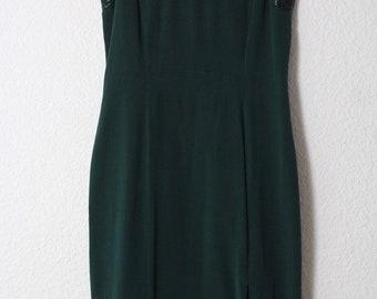 vintage silk dress 60s 50s style shift dress green dark gown pearls sleeveless 90s minimal