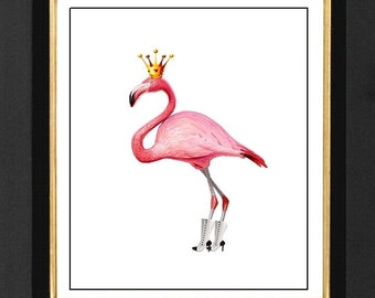 "Pink Flamingo ""Her Style"", Flamingo Art Print, Pink Flamingo Art ,Pink Flamingo Prints 8x10 Flamingo Pictures, Flamingo Decor, POSTER A4"