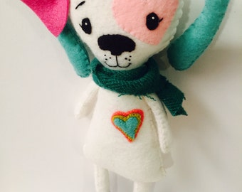 Puppy Dog Plushie. Softie. Felt Doll.