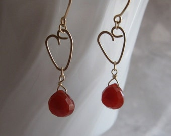Chalcedony Heart Earrings- Gold Filled, Hammered Wire Hearts
