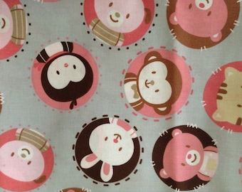 1 yard Pastel Animal Circles Fabric, Cotton Fabric, Gray and Pink, Baby Girl