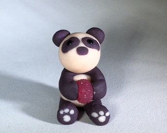 Panda Steals Jelly Doughnut // Polymer Clay Figurine // Gift for Panda People