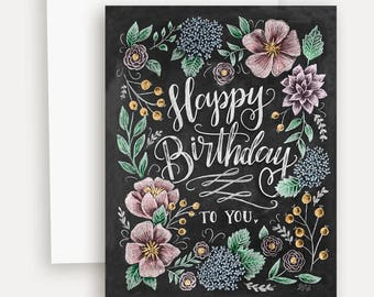 Happy Birthday To You With Flowers Card A2 Note