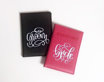 Bride and groom passport holders, bride and groom covers, couples gift, his and hers, wedding gift, honeymoon essentials, calligraphy covers