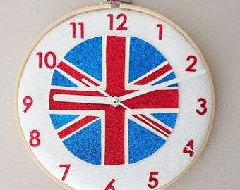 Union Jack Clock, Glitter Union Jack Clock, Union Jack Hoop Clock, Glitter Union Jack, Felt Hoop Art, Felt Clock,