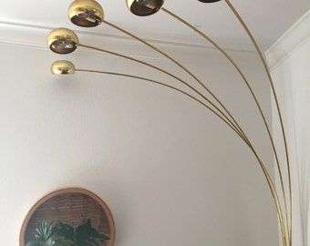 Vintage floor lamp etsy vintage mid century modern brass arc orb floor lamp spider pod lamp light settings aloadofball Gallery