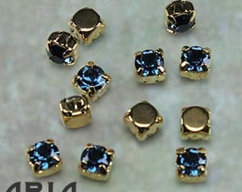 MONTANA: Swarovski SS29 6.5mm 17704 Xilion Gold Plated Two Hole Sew-On Slider Bead Component (12)