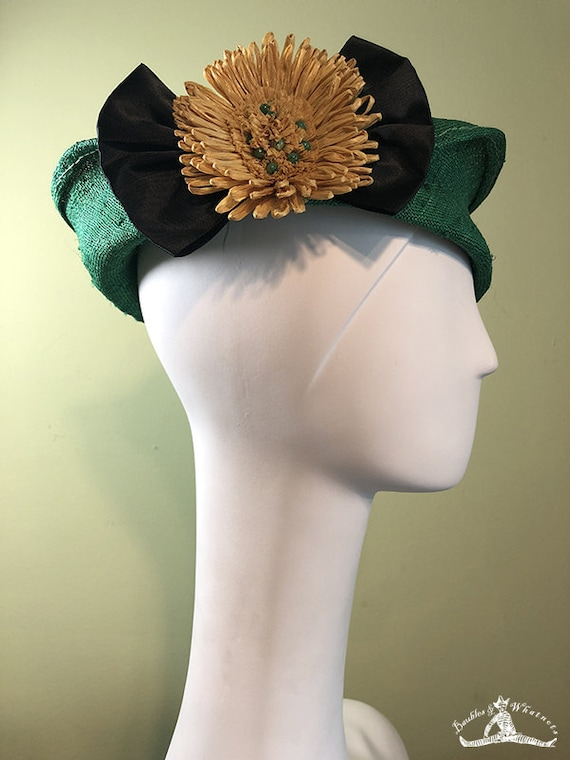 Straw Cloche Hat - Green Straw Hat with Vintage Yellow Raffia Flower - Spring Summer Straw Women's Hat - Women's Derby Ascot Hat - OOAK