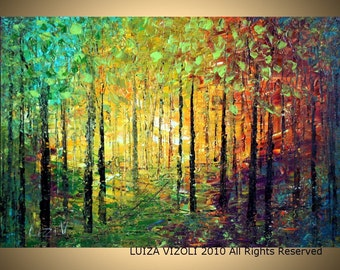 Original Modern Abstract Landscape Trees Palette Knife Impasto Large Painting SPRING SUNSET by Luiza Vizoli