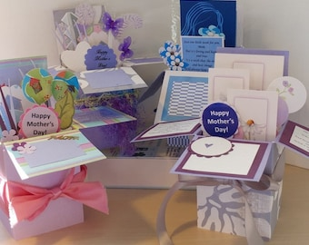 MOTHER'S DAY Handmade Exploding Box Pop Up Cards - 4 Variations Free Shipping in USA