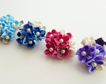 Hydrangea Hair Clips, Tsumami Craft, Japanese Traditional Craft