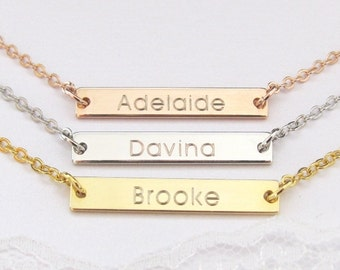 Personalized Bar Necklace Engraved with Name Available in Gold Plated, Silver Plated and Rose Gold Plated