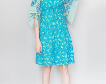 Vintage 1970's Dacron Blue Cotton Paisley Print Mini Dress
