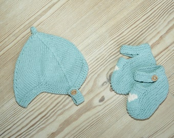 Hand Knit Baby Pixie Hat | Duck Egg Blue