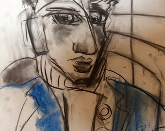 original abstract 16,54x23,23 inch abstract portrait drawing painting original abstract Portrait