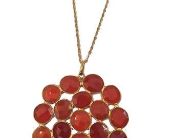 Carnelian Cluster Gemstone Pendant Necklace