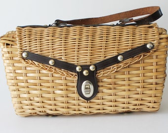 Woven Wicker Purse by Stein Novelty Import, 1950s Woven Handbag Made in Hong Kong Leather Handle