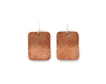 Hammered Rectangle Copper Earrings, Copper Jewelry, Dangle Earrings, Copper Dangle, Rustic Jewelry, Silver Earwire, Gift for Her