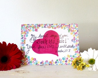 Inspirational Greeting Card, Seek His Face Scripture, Psalm 27:8