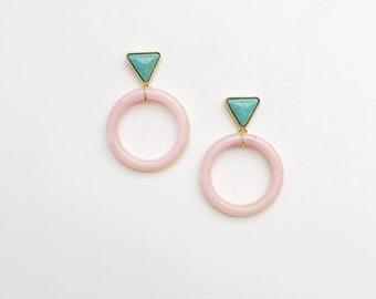 Pink Lucite Circle Drop Earrings