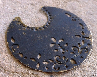 Steampunk pendant, hand made EBONY patina antique bronze crescent moons 2 pcs