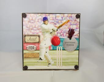 3D Box Birthday Card - Cricket - luxury unique quality special bespoke UK - Dad/Son/Uncle/Brother/Nephew/Granddad