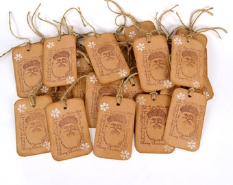"8 Rustic Christmas Gift Tags Vintage Santa Stamped Distress Antiqued Travel Stamp Chalk Snowflakes 2.25"" x 4""  CODE 2"