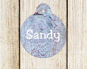 Custom Pet ID Tag - Personalized Pet Tag - Wood Texture ID Tag