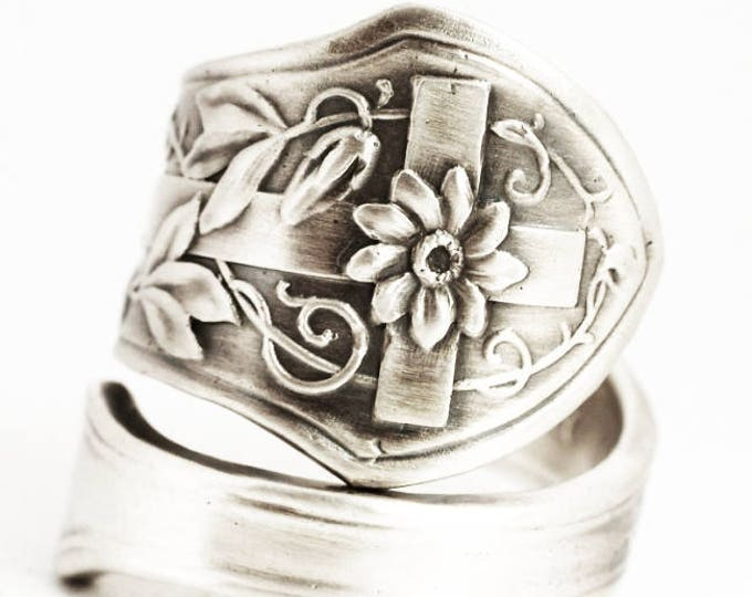 Silver Cross Ring, Sterling Silver Spoon Ring, Christian Gift, Catholic Gifts, Easter Ring, Cross and Flowers, Adjustable Ring Size (6082)