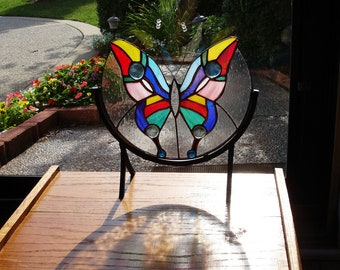 Iridized Stained Glass Butterfly - On Wrought Iron Stand