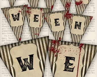 Halloween Banner printable halloween banner party decor diy paper crafting instant download digital collage sheet - VDBAHA1244