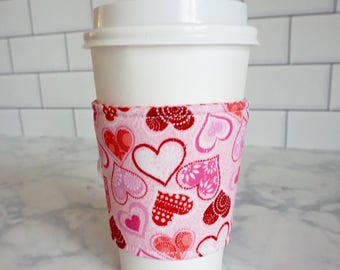 Reusable Coffee Sleeve-Heart Print