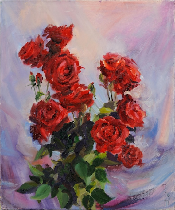 Rose Flower Bouquet of Roses Oil Painting Flowers Red Rose