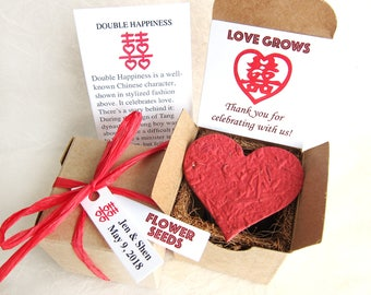 Double Happiness Chinese Wedding Favors Gift Box Kit with Red Heart Seed Bomb - Flower Seed Paper Planting Kit - Chinese New Year Lai See