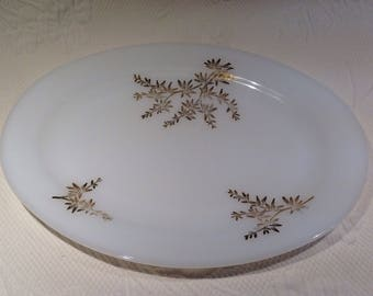 """Federal Glass serving plate """"Gold Leaf"""" milkglass - dishes for serving milk glass / / made in the United States"""