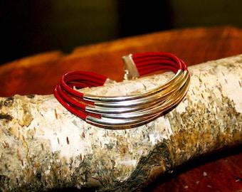 Boho Multistrand Tube Leather Bangle Bracelet