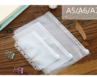 A5/A6/A7 Filofax PVC Zipper Pouch With Hole For Planner, notebook, travel PVC pouch