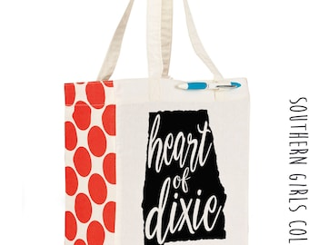 Alabama Heart of Dixie Cotton Market Tote Bag - Canvas Farmers Market Tote - Reusable Bag - Southern Girls Collection State design