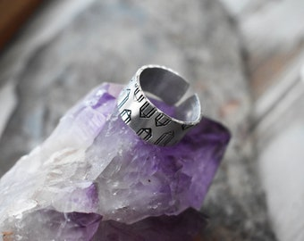 Crystal Cave Ring- Aluminum Gemstone Stamped Ring- Stamped Quartz Crystal Adjustable Ring Jewelry- Crystal Lover Ring