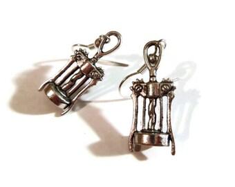 Wine Lover's Earrings ~ Corkscrew Dangle Pendant Jewelry ~ Handmade Alcohol Charm Gift Idea ~ Silver Tone