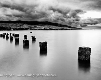Abandoned Pilings black and white photograph print, 8x12 print matted on black 12x16 mat.  Molokai, Hawaii stone pier pilings