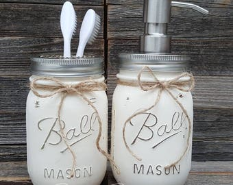 Rustic Bathroom Decor - Painted Mason Jars - 2 pc Mason Jar Sets - Shabby Chic - Country  - Soap/Lotion  Dispenser - Toothbrush holder