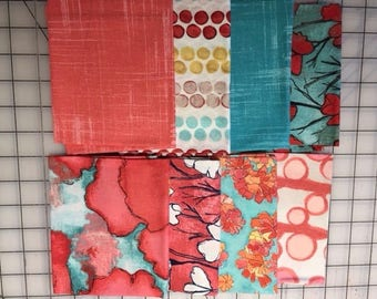 FAT QUARTERS! from Michael Miller's Worn Poppies Red collection including 8 pieces as pictured.  Priced by the bundle.