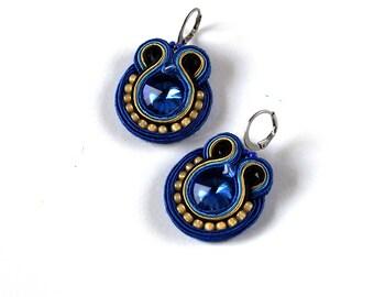 Soutache Earrings, Small Blue Earrings, Handmade Earrings, Boho Dangle Earrings, Girls Jewelry, Embroidered Earrings soutache, Gift for Her