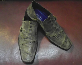 Men's  Distressed Look Army Green/Gray Shoes Size 10.5 Made In Italy