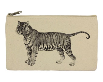 Pencil case/ stationary/ tiger/ pencil pouch/ canvas bag/ pencil holder/ make up bag/ school supplies/ gift for women/ gift for her