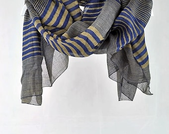 Blue Scarf, Sand Scarf, Striped Scarf, Large Scarves, Gifts for Her, for mom, womens gift, gift for grandma, gift for coworker (VS-30-05)